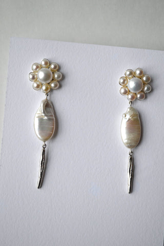 Sea Flower Pearl Earrings