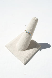 Four Step Ring, Opal & White Diamond