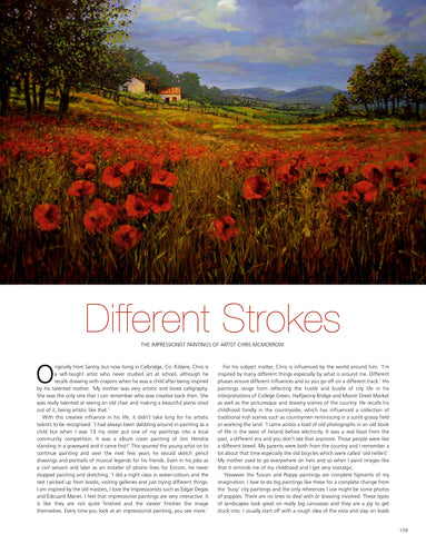 A magazine feature article about artist Chris McMorrow's landscape and cityscape paintings