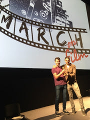 Chris and Marco with the award at the Irish Film Institute, Dublin