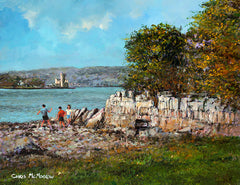 A painting commission of the banks of the River Lee with three kids skimming stones.
