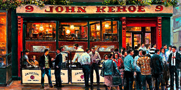 A painting of people outside Kehoes Pub, Dublin by artist Chris McMorrow