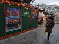 The Tram Cafe with Artwork on the hoarding