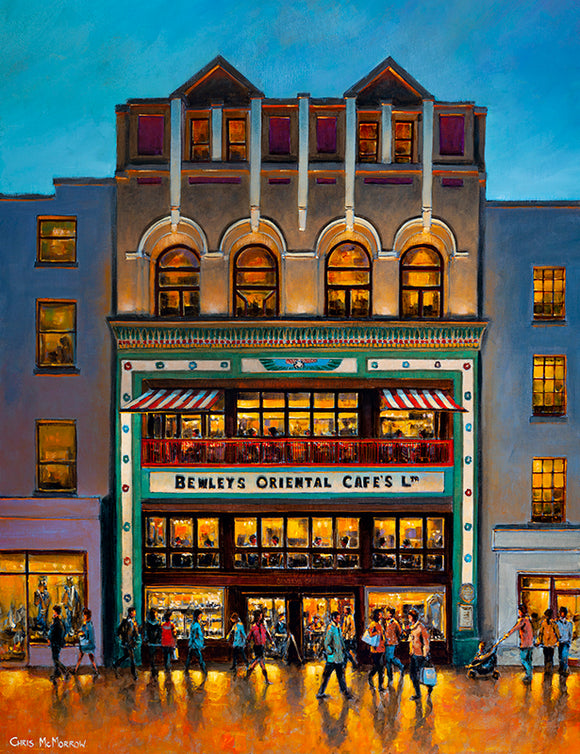 Painting of the iconic Bewleys Cafe in Dublin city centre