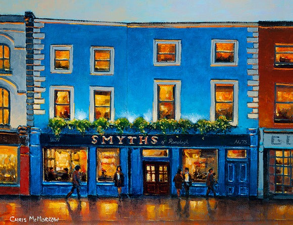PAinting of Smyths Pub on the main street Ranelagh.