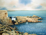 Watercolour of the 40 Foot bathing place in Sandycove, County Dublin