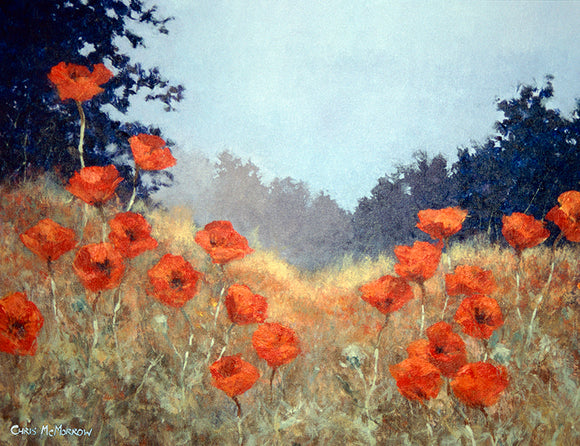 Acrylic painting of poppies in an Irish meadow