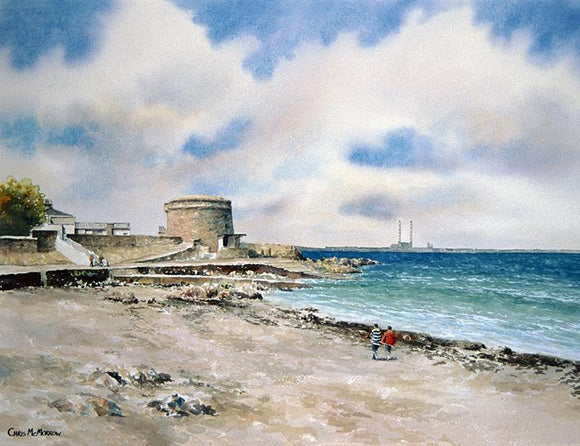 Watercolour painting of a couple on Seapoint beach, Dublin