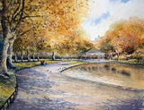 An autumn scene captured in watercolour of St Stephens Green, Dublin