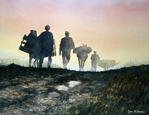 Watercolour painting of men and donkeys bringing home turf from the bog