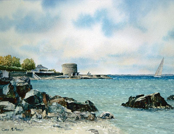 Watercolour painting of Seapoint, Dublin showing a sailboat in the green sea