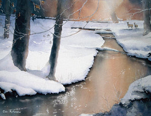 Painting of two deer in a snowscene in the Irish countryside