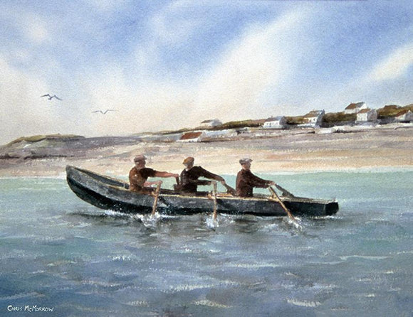 Watercolour seascape of men in a naomhog boat