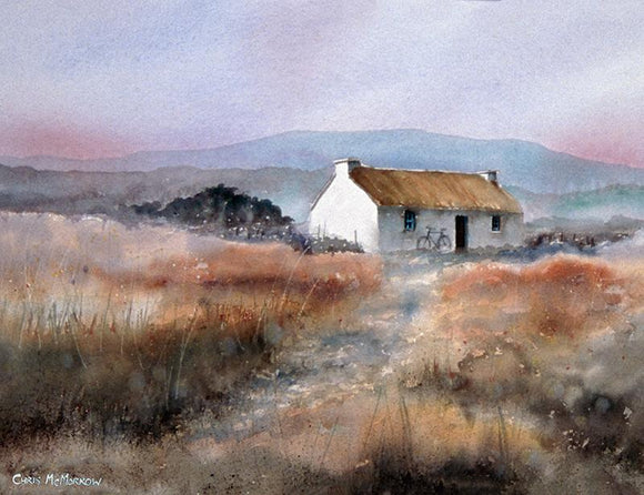 Watercolour painting of a thatched house in the west of Ireland
