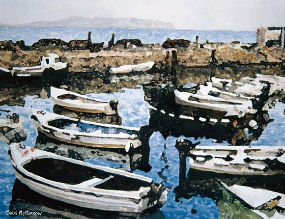 Watercolour painting of boats resting in Bullock Harbour, Dalkey