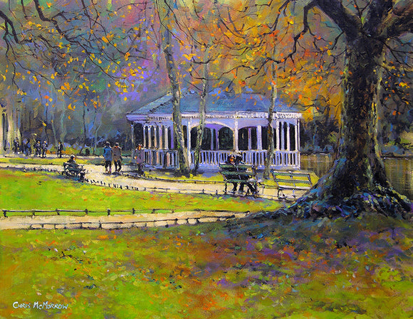 Painting of an autumnal Stephens Green, Dublin in faded greens and ochres