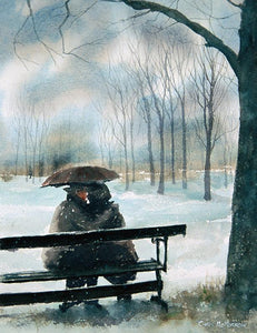 Watercolour of a couple on a park bench in the snow