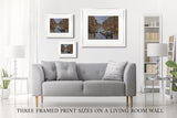 Photo of the three print frame sizes on a living room wall