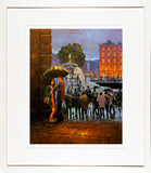 A framed print of a painting of two lovers in a romantic embrace sheltering under Merchants Arch, Dublin city