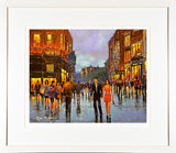 A framed print of a painting of two young people out for the evening in Dublin city
