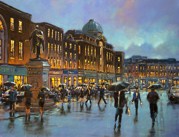 A painting of Patrick Street, Cork as the evening sky darkens with rain