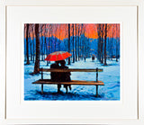 PAinting titled the RED UMBRELLA - FRAMED print