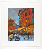 A framed print of a colourful painting of two Vespa scooters in the Italian city of Pisa