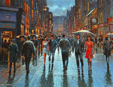 Painting of couple walking out on Grafton Street in the early evening, dressed in their finest