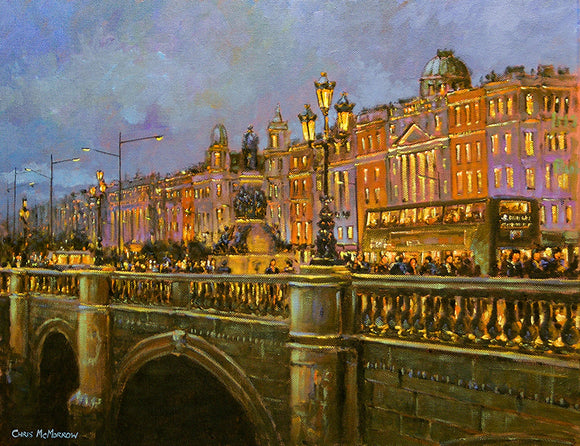 Painting of traffic on O'Connell Bridge, Dublin in the early evening