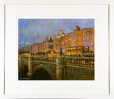 Framed print of a painting of a busy O'Connell Bridge in Dublin city centre