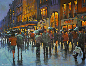 Painting of Arnotts store on Henry Street, Dublin on a busy shopping day