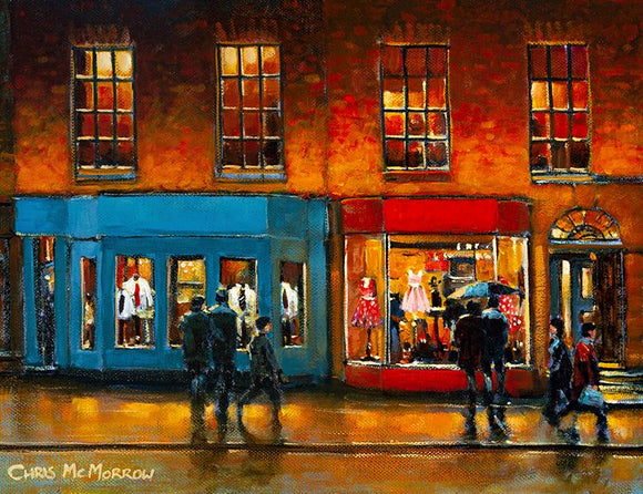 Painting of window shopping couples on Dawson Street, Dublin