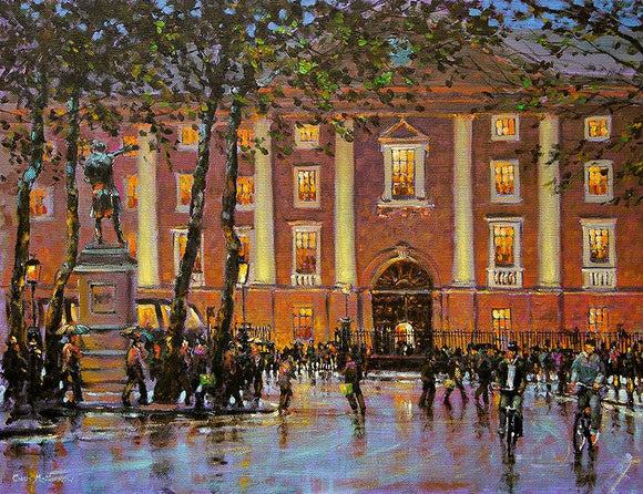 Painting view of the front facade of Trinity College and College Green