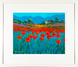 PAinting of POPPIES IN BLUE - FRAMED print