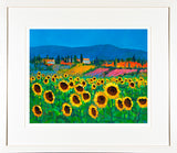 SUNFLOWERS IN TUSCANY painting - FRAMED print