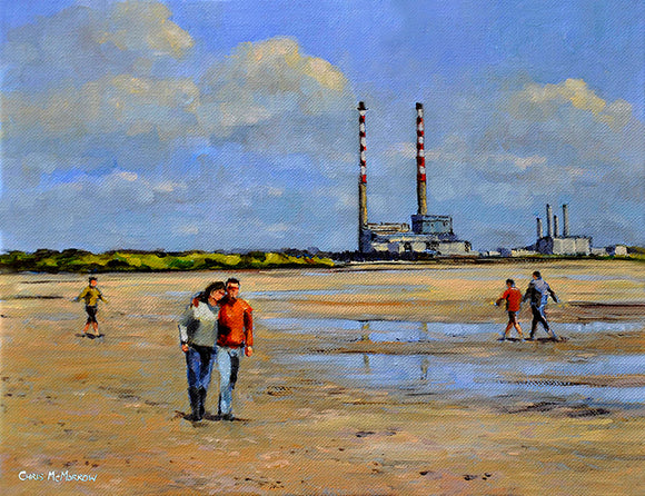 A painting of a couple stroll arm in arm along the shore at Sandymount, Dublin