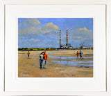 Framed print of a couple walking along the strand in Sandymount, Dublin