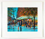 A framed print of a painting of a couple walking along a busy Parisien boulevard