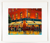 A framed print of a painting of Hogans Bar on South Great Georges Street in the city centre