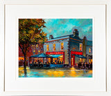 A framed print of a painting of a wide view of Slatterys Pub, near Beggars Bush, Dublin