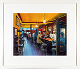 A framed print of a painting of customers drinking inside the bar in Kehoes Pub, Dublin