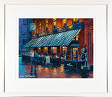 A framed print of a painting of Bruxelles Pub just off Grafton Street in citycentre Dublin