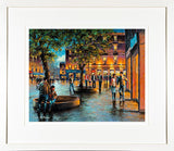 A framed print of a painting of people out and about on Grand Parade in Cork City centre