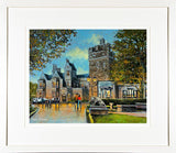 A framed print of a painting of the front façade of Clontarf Castle in the Dublin suburb of Clontarf