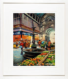 A framed print of a painting of the inside of the fruit and vegetable stalls in the English Market in Cork City Centre