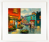 A framed print of a painting of a man and a woman talking at the Milk Market, Kinsale.