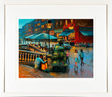 A framed print of a painting of people on the steps outside the Powerscourt Townhouse, South William Street, Dublin