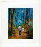 A framed print of a painting of a young couple walking on a path in the forest