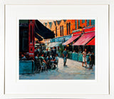 A framed print of a painting of a busy Castlemarket on a  busy afternoon in the city centre, Dublin