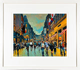 A framed print of a painting of people walking by Brown Thomas Department store on Dublin's Grafton Street